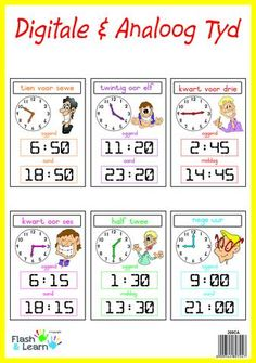 24 Hour/ 24 Uur High quality colourful laminated posters for easy and fun learning! Available in English or Afrikaans Fun Learning, Teaching Kids, Teaching Resources, School Info, School Fun, Afrikaans Language, Dutch Language, Nursery School, School Posters