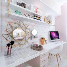 Que lindo, inspiração certeza✓ Home Office Design, Home Office Decor, Home Decor, Small Room Bedroom, Room Decor Bedroom, Decoration Inspiration, Girl Bedroom Designs, Dream Rooms, New Room