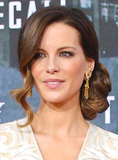Kate Beckinsale's Sophicated, Brunette, Romantic, Updo Hairstyle