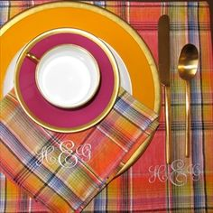 plaid monogrammed table linens