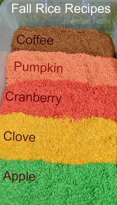fall scented rice recipes - great for sensory bins, crafts & more (Fall Recipes Preschool) Fall Preschool Activities, Sensory Activities, Toddler Activities, Educational Activities, Learning Activities, Autumn Activities For Babies, Outdoor Activities, Preschool Food, Apple Activities