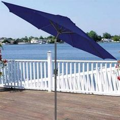 9' Outdoor Patio Market Umbrella with Hand Crank and Tilt - Navy Blue