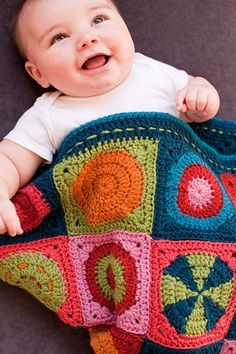 """Mix & Match"" motif blanket AND a cute baby! Pattern by Linda Permann, from her book Little Crochet. Crochet Squares, Crochet Granny, Crochet Blanket Patterns, Baby Blanket Crochet, Crochet Stitches, Crochet Baby, Knit Crochet, Crochet Afghans, Crochet Blankets"