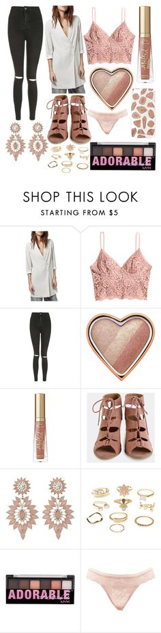 """Untitled 411"" by sshort ❤ liked on Polyvore featuring Topshop, H&M, Too Faced Cosmetics, Charlotte Russe, NYX, Skinnydip and plus size clothing"