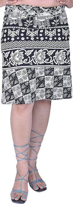 Exotic India White and Black Wrap-around Mini-Skirt with Printed Elephan - White - india dash budget Winter Skirt Outfit, Casual Skirt Outfits, White Skirts, Mini Skirts, Women's Skirts, Grey Tights, Womens Fashion Online, Fashion Women, Lace Outfit