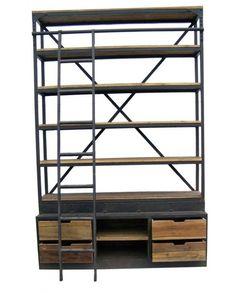Grande étagère bibliothèque échelle bois recyclé 4 tiroirs