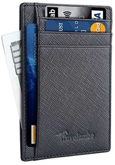 Travelambo Front Pocket Wallet Minimalist Wallets Leather Slim Wallet RFID Blocking (Crosshatch Black) At Amazon Men's… #coupons #discounts
