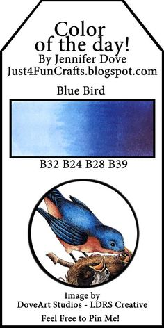 Copic Color of the Day 219 Blue Bird and DoveArt Studios Copic Marker Art, Copic Pens, Copic Sketch Markers, Copic Art, Copics, Copic Color Chart, Copic Colors, Color Charts, Colours