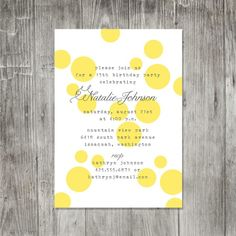 yellow polka dot invitation