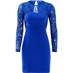 Rental ML Monique Lhuillier Wrapped in Blue Dress ($35) ❤ liked on Polyvore featuring dresses, blue, liliana sheer-sleeve lace dress, blue wrap dress, sheer long sleeve dress, long blue dress and long dresses