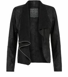 Black (Black) Black Suedette Zip Up Waterfall Jacket  | 297741101 | New Look