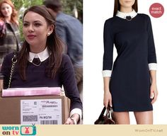 Mona's navy blue collared dress on Pretty Little Liars. Outfit Details: http://wornontv.net/33654/ #PLL