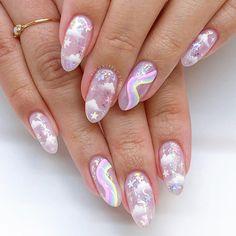 Shellac Nails, Nail Manicure, Unicorn Nail Art, Gothic Nails, Nails Only, Kawaii Nails, Nail Candy, Pretty Nail Art, Minimalist Nails