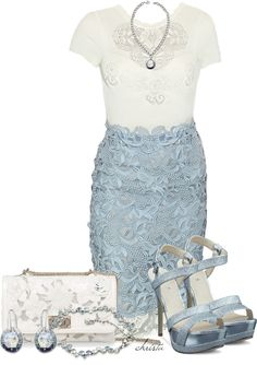 A fashion look from March 2013 featuring chaussures à talon haut, leather shoulder handbags et swarovski crystal bangle. Browse and shop related looks. Dressy Outfits, Skirt Outfits, Dress Skirt, Cute Outfits, Lace Skirt, Style Work, Mode Style, Look Formal, Elegantes Outfit