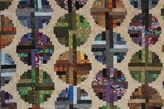 Log Cabin Twin  Full Quilt Pieced Longarm by SnowDogQuiltWoodwork