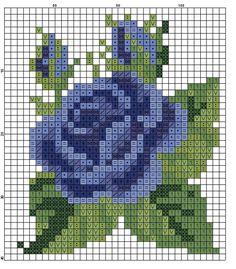 Cross stitch chart, a blue rose Cross Stitch Cards, Cross Stitch Rose, Cross Stitch Flowers, Mini Cross Stitch, Cross Stitching, Cross Stitch Embroidery, Embroidery Patterns, Hand Embroidery, Cross Stitch Designs