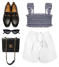 """Sin título #4265"" by camilae97 ❤ liked on Polyvore featuring Boohoo, Tory Burch, Le Specs, Chanel and Gucci"
