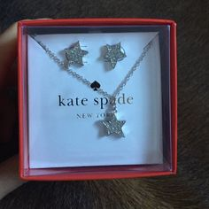 """Kate Spade Twinkle Earring/Necklace Set NWT Kate Spade Twinkle Twinkle silver earrings and necklace set. Necklace is adjustable on a 16"""" chain. Beautiful and fun piece for all ages! kate spade Jewelry"""