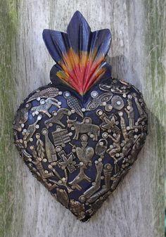 Sacred Heart Blue Wood Milagro covered, Folk Art Michoacán Mexico, Love Token