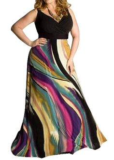 db02288de2b OULIU Women s Plus Size V-Neck Color Block Sleeveless Maxi Dress at Amazon Women s  Clothing