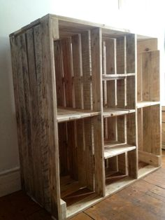 A great big cabinet from Pallets. all it needs are some doors.