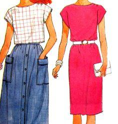 Uncut Pattern Misses Dress Top Button Front Skirt Butterick 6549 Size 6 8 10