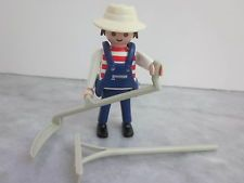 PLAYMOBIL Figure H86 Farmer Blue Overalls Tools Hat - Farm Ranch