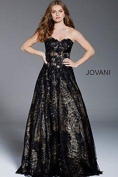 Black Nude Corset Bodice Strapless Evening Ballgown 56091  CorsetDress   LaceupGown  Jovani  PromDress a7ba317aa