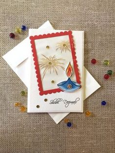 Buy Diya 4 Handmade Diwali Greeting Cards, Diwali Cards, Diwali Greetings, Diy Cards, Arts And Crafts, Card Crafts, Bulletin Boards, Envelopes, Handmade Gifts