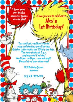 custom dr. seuss birthday party supplies, you print, choose one, Birthday invitations