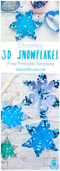 STUNNING 3D SNOWFLAKE CRAFT - perfect for hanging on the Christmas tree or for Winter themed fun! A Winter craft with a difference! To keep things super simple we've got a free printable template for you, available in 3 different sizes. #snowflakes #christmas #ornaments #christmascrafts #wintercrafts #winteractivities #snow #kidscrafts #papercrafts #kidscraftroom #printables
