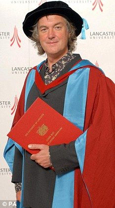 'Very emotional': Top Gear co-presenter James May with his honorary degree from Lancaster University. 16 July 2010