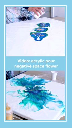 Video tutorial how to do an acrylic pour flower big by rinske douna - Art - Fluid painting tutorial in blue, green, gold and white - Pour Painting Techniques, Acrylic Pouring Techniques, Acrylic Pouring Art, Acrylic Art, Flow Painting, Diy Painting, Knife Painting, Resin Art, Canvas Art