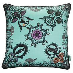 Su Owen Design 'Alice' Silk Cushion - 45x45cm ($72) ❤ liked on Polyvore featuring home, home decor, throw pillows, multi, bunny home decor, black home decor, silk throw pillows, rabbit home decor and black accent pillows