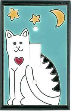 Folk Art Cat Ceramic Light Switch Plates, Outlet Covers, Wallplates