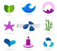 Wellness, relaxation and medical icons - blue and pink. Wellness, medical and relaxation icon set. Collection of 9 design elements inspired by water, nature, soul and meditation. Perfect use for websites, magazines and wellness brochures.