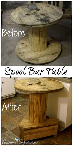 Free of cost, this rustic spool bar height table was easy to put together and adds tons of character and value to this kitchen.