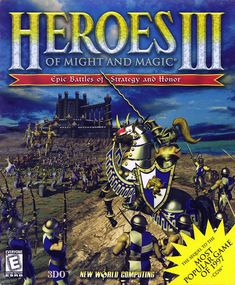 "Box art for New World Computing / 3DO's hit 1999 PC fantasy turn-based strategy game ""Heroes of Might and Magic III"""