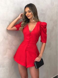 Princess jumpsuit with puffed sleeve Glam Dresses, Prom Party Dresses, Cute Dresses, Dress Outfits, Trendy Outfits, Cool Outfits, Fashion Outfits, Casual Skirts, Aesthetic Clothes
