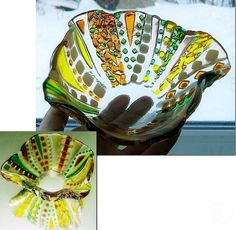 "Repina Elena. A small vase for jam ""Summer in village"" glass fusing"