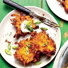 Crispy Sweet Potato-Green Onion Cakes | Serve these savory little numbers with a dollop of sour cream and a squeeze of lime as a crunchy appetizer or a dish to accompany roasted or grilled meats or fish.