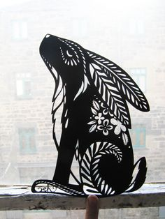 rabbit, stencil, cut paper, artowork, craft, illustration, pattern