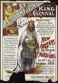 1936 Naw'lins Mardi Gras poster.  From the Boston Public Library's online collection of old travel posters.