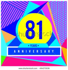 81th years greeting card anniversary with colorful number and frame. logo and icon with Memphis style cover and design template. Pop art style design poster and publication.