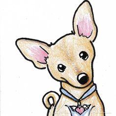 Original Art Chihuahua Dog Breed ACEO Drawing Ebsq. $40.00, via Etsy.