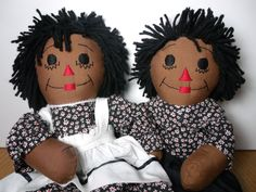 "Beautiful 18"" Handmade Pair Raggedy Ann and Andy"