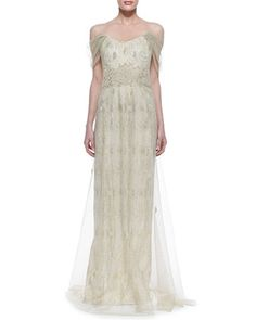 Off-Shoulder Chiffon Overlay Gown, Ivory/Gold by Rene Ruiz at Neiman Marcus.