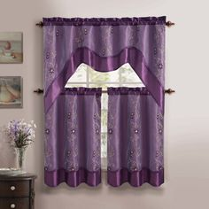 Toss In A Splash Of Style With This Bright Fun And Chic Purple Daphne Kitchen Curtain What S Included Valance Tiers Measurement 57