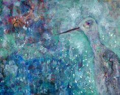 """For Sale 20"""" X 16"""" """"Midnight Dream by the Shore""""  by Lisa Doffing  Acrylic Painting on canvas Framed in wood"""