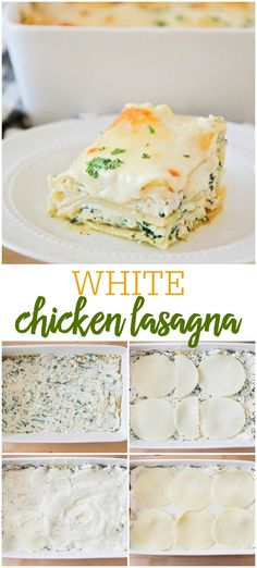 Everyone loves lasagna! This White Chicken Lasagna version is just as delicious as classic lasagna and is filled with spinach, cheese and delicious homemade white sauce. White Lasagna With Chicken, Chicken Spinach Lasagna, White Sauce Lasagna, Easy White Lasagna Recipe, Fresh Lasagna Recipe, Easy Chicken Lasagna Recipe, Chicken White Sauce, Classic Lasagna Recipe, Chicken Recipes